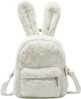 Mochila de piel sintética para mujer, diseño de orejas de conejo