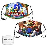So-nic Hedge-hog 2pcs Face Cover Reusable Anti-Dust Mouth Protector For Kids Teen Child Balaclava Bandana Neck Gaiter with 2 Filters