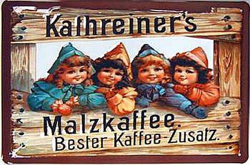 Blechschild Nostalgieschild - 20 x 30 cm schwere Qualität: Kathreiner's Malzkaffee - Bester Kaffee-Zusatz
