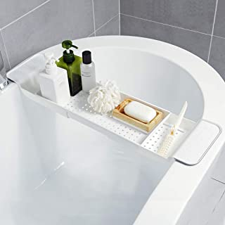 wewesale バスタブトレー バスタブラック 浴室用ラック バステーブル バスラック 伸縮式 ズレ防止 大容量 水切り お風呂用品
