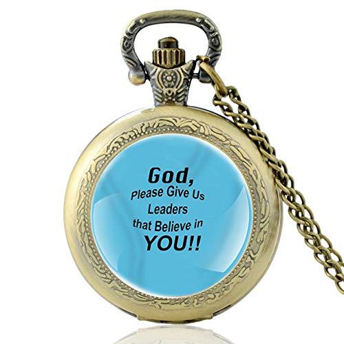 Biblia Verso Dios, por Favor Dénos Líderes, Que Creen En Usted Cuarzo Bolsillo Reloj Vintage Hombres Mujeres Religiosas Collar Reloj Regalos