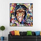 KWzEQ Graffiti de chimpancés de Arte Callejero dibuja un póster de Mono sobre Lienzo para Decorar la Sala de Estar,Pintura sin Marco,45x45cm