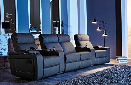 4er Kinosessel, Cinema - Relax Sofa, Heimkino Sessel, TV Sofa, Relaxcouch, Home Cinema, Kunstleder schwarz, verstellbar, Liegefunktion