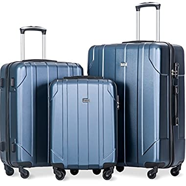 Merax 3 Piece P.E.T Luggage Set Eco-friendly Light Weight Spinner Suitcase(Blue)