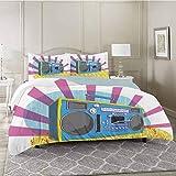 YUAZHOQI Juego de funda de edredón retro con diseño de música pop Art Manner Dance Music colorido composición, juego de cama decorativo de 3 piezas con 2 fundas de almohada, tamaño Queen