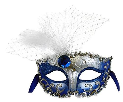 Success Creations Elizabeth Masquerade Mask for Women Blue Silver