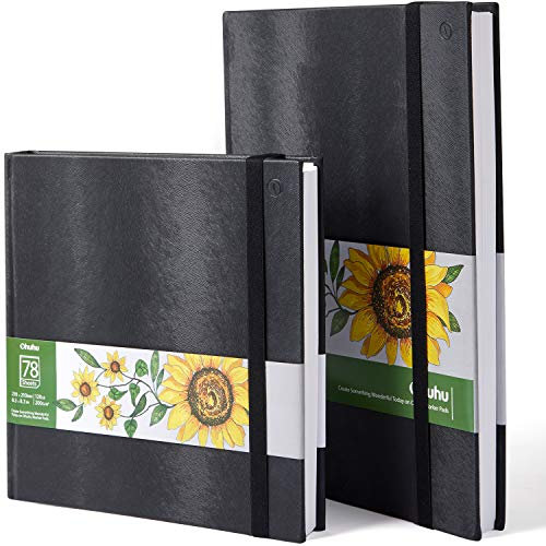 Ohuhu Marker Pads Art Sketchbooks, 2-Pack 8.3'×8.3'& 8.3'×11.7', 120 LB/200GSM Smooth Drawing Papers, Each Size Holds 78 Sheets/156 Pages, Hardcover Sketch Book
