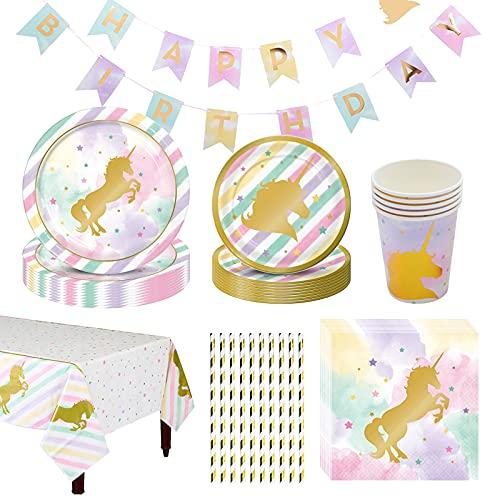 DreamJing Juego de vajilla de 73 piezas, diseño de unicornio, tazas de papel, platos, servilletas de unicornio, platos de fiesta, mantel arcoíris para cumpleaños, baby shower, suministros para 6