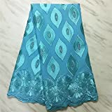 RONVITAL 2021 African Swiss Voile Lace Fabric with Stones Soft Embroidery Dry Voile Lace Materials in Switzerland Royal Blue Swiss Voile lace Fabric 5 Yards (5Yards,Blue)