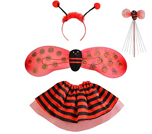 ISO TRADE Kostüm Marienkäfer Biene Set Verkleidung Kinder Rot/Schwarz 4 Elemente Komplett Outfit 6613, Muster:Marienkäfer
