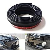 SJ Carbon Fiber Front Bumper Lip Splitter Chin Spoiler Body Kit Trim, 8Ft(2.5 Meters) Universal fit Most Car`s (Pure Black)