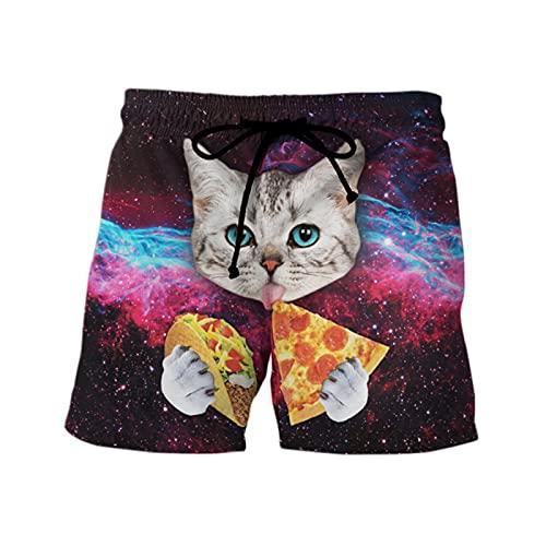 Mikelabo - Pantalones cortos de verano para hombre, pantalones cortos deportivos con cordón, cintura elástica, 6 (Reino Unido), 3XL