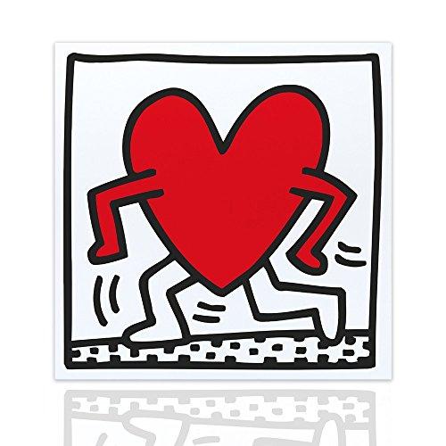 Quadro Moderno Running Heart Tributo Keith Haring Cuore Pronto da Appendere Canvas Telaio in Legno Realizzato a Mano Arredo Casa Design Quadro per la casa Quadro per Negozi Design Declea