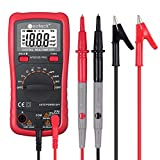 Neoteck Auto Ranging Digital Multimeter AC/DC Voltage Current Ohm Capacitance Frequency Diode Transistor Audible Continuity, Multi Tester with Backlit LCD- Red