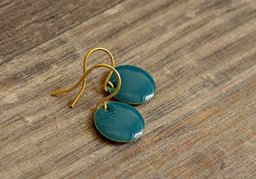 feine kleine Emaille Ohrringe in petrol goldfarben