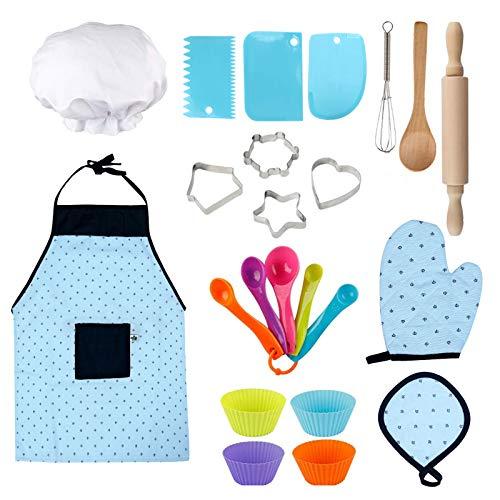 Geniff Kids Cooking Utensils Easy Bake Oven Mixes Baking Sets Baking Supplies for Kids for Girls Kitchen Set Baking Set (23PCS)