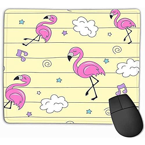 Rutschfeste dicke Gummi große Mousepad 30 x 25 cm rosa Muster Flamingo bunte trendige Mode Zeichnung modernen Stil Kleidung Kinder s Stoffe wunderschön