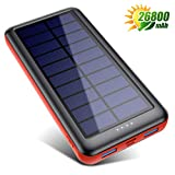 iPosible Solar Power Bank 26800mAh Solar Charger [Type-C Input] Fast Charging Portable Phone