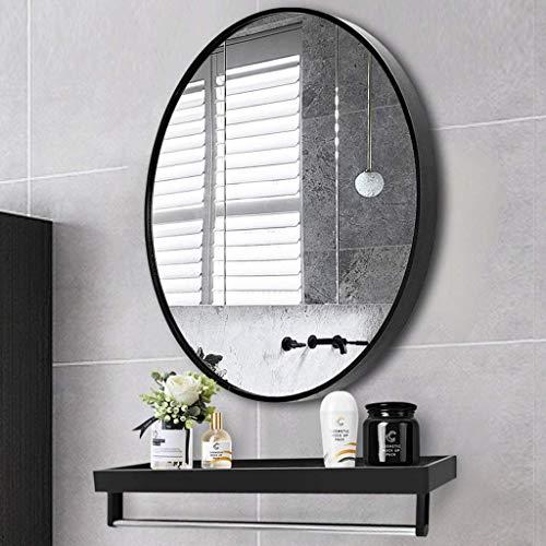 FACAIA Espejo de Pared Moderno Grande 70 * 70 cm Marco de Metal Marco de Vidrio HD Diseño Simple Art Deco para Dormitorio Sala de Estar Antiniebla (Color: Negro, Tamaño: 70 cm)