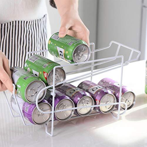 ORCCAC Dosen Lagerregal, Kühlschrank Bier Cola Küche Lagerung, Doppelschicht Regal, Getränkedosenhalter Lagerregal Organizer, für Küchenschrank Pantry Countertop Gefrierschrank