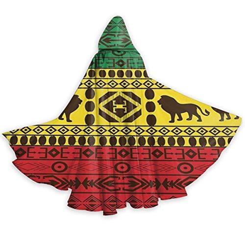 Disfraz De Fiesta Patrn Tradicional Africano Rasta Jamaica Disfraces De Vampiro Impresin HD Capa Co Capucha Encapuchado Vampiro Traje para Adultos Mujer 150X40Cm