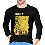 Levoncar MGMT Little Dark Age Long Sleeve T Shirt Mens Crew Neck Graphic Shirts Black