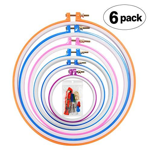 Povad Stickrahmen Set Stickerei Ring Embroidery Hoop Cross Stitch Hoop - 6 Größe (29 cm, 25 cm, 20 cm, 18 cm, 16,5 cm und 13 cm) Hoop, mit Zubehör