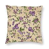 JamirtyRoy1 Funda de almohada, color berenjena – flores de arrastre envejecido, color marrón envejecido, decorativa, funda de cojín suave para sofá, dormitorio, coche, 66 x 66 cm
