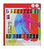 Marabu 1210000000201 - Acrylfarbenset, deckende Acrylfarben auf Wasserbasis, für Untergründe wie Keilrahmen, Malkarton, Papier und Holz geeignet, schnell trocknend, matt glänzend, 18 x 36...