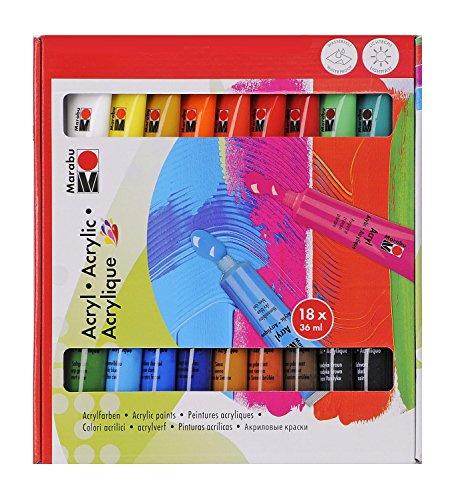 Marabu 1210000000201 - Acrylfarbenset, deckende Acrylfarben auf Wasserbasis, für Untergründe wie Keilrahmen, Malkarton, Papier und Holz geeignet, schnell trocknend, matt glänzend, 18 x 36 ml Farbe