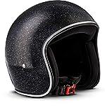REBEL R2Casco Retro de Motocicleta, incluye Bolsa de plástico,Casco de Fibra de Vidrio, Flakes Negro, XS (53-54cm)
