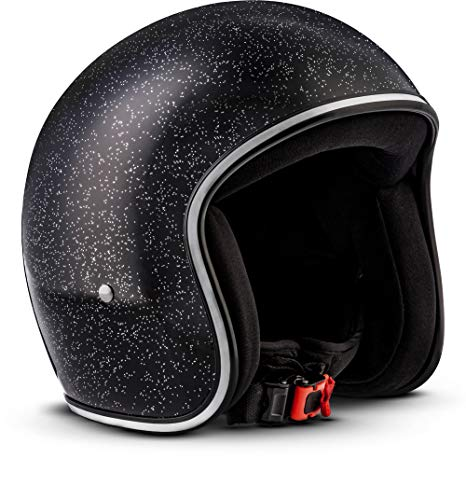 Rebel R2-Flakes–Casco retro de motocicleta scooter Vespa, incluye bolsa de plástico–Casco de fibra de vidrio–extra pequeño y ligero–3capas (tamaño perfecto, pintado con aerógrafo)