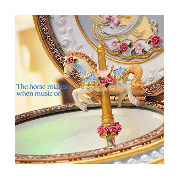 Amperer Classical Carousel Horse Music Box LED Lights Twinkling Resin Carved Collectible Mechanical Musical Box with… 7