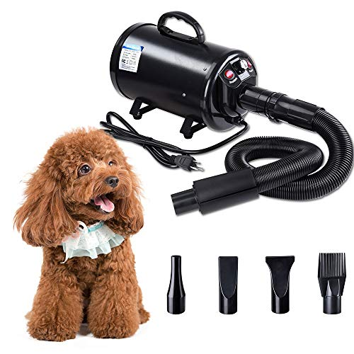 Yescom 2400W 3.2HP Pet Dog Cat Grooming Hair Force Dryer Quick Blower Heater Electrodeless Speed 4 Nozzles Black