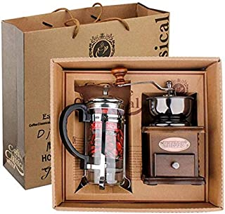 Vintage Style Manual Coffee Grinder Hand Grinder & French Press Coffee/tea Maker Set in Gift Package