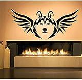 Wolf Head Wall Decal Vinyl Animal Patrón Pegatina de pared Lobo Totem Dormitorio Sala de estar Casa Decoración para el hogar Fotomural 94 * 42cm