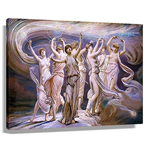 XLXXQJ The Pleiades Greek Mythology Poster Canvas Artwork for Bedroom Wall Decor Home Giclee Oil Paintings for Bathroom Modern Pictures for Kitchen Horizontal Prints Decorative Art Printed Canvas Pics (20x30inch(50x75cm),Framed)