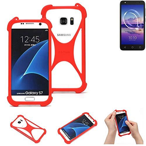 K-S-Trade® Handyhülle Für Alcatel U5 HD Single SIM Schutzhülle Bumper Silikon Schutz Hülle Cover Case Silikoncase Silikonbumper TPU Softcase Smartphone, Rot (1x)
