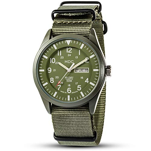Military Watches for Men Analog Wrist Watch Tactical Waterproof Outdoor Mens Work Quartz Wristwatch Date Day Army Green Nylon Band by MDC