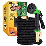 Flexi Hose Upgraded Expandable Garden Hose, Extra Strength, 3/4' Solid Brass Fittings - The Ultimate No-Kink Flexible Water Hose, 8 Function Spray Included (100 FT, Black)