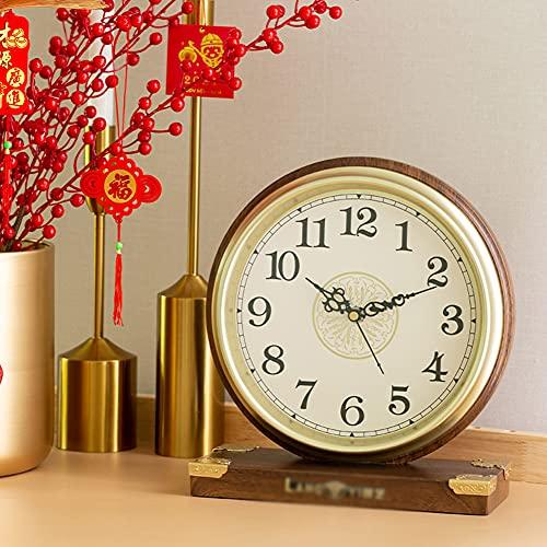 RH-ZTGY Reloj De Mesa De Metal De Época, Reloj Retro Clásico, Reloj De Escritorio Silencioso De Estilo Movimiento De Cuarzo Sin Tictac Operado, Lente De Vidrio HD, Fácil De Leer