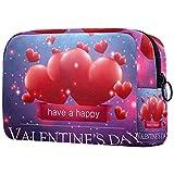 Bolsa de cosméticos Bolsas de Maquillaje para Mujeres, pequeña Bolsa de Maquillaje Bolsas de Viaje para artículos de tocador - Feliz día de San valentín 14 de febrero corazón de Amor