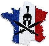 ecusson France Francais Drapeau Casque opex Tap Soldat Spartan 9x9cm Legion thermocollant