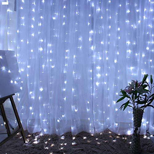 300 LED Waterproof Curtain Light 3mX3m, Fairy String Lights with Timer 8 Modes Adjustable Brightness, USB Plug Remote Control for Bedroom Indoor Outdoor Wedding Party Garden Decoration White
