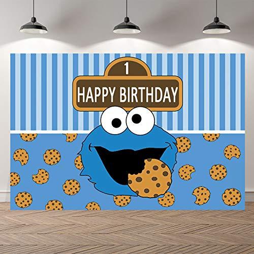 Krümelmonster Geburtstag Hintergrund für Kinder Happy Birthday Party Dekoration Fotohintergrund Babyparty Banner Dekoration Supplies Baby Cookie Monster Hintergrund Kuchen Dessert Tischdeko Banner