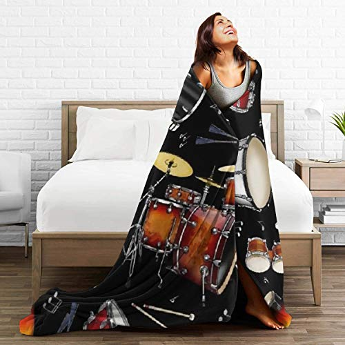 """Product Image 4: BONLOR Percussion Black Drum Throw Blanket Ultra Soft Thick Bed Blanket Soft Coral Flannel Blanket Micro Fleece Blanket for Sofa Couch Bed Chair Office Sofa Soft Blanket Home Bed Blankets 60""""x 50"""""""