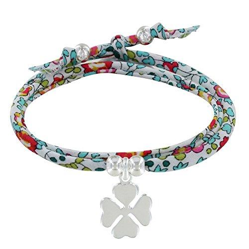 Les Poulettes Bijoux - Bracelet Double Tour Lien Liberty et Trèfle Argent - Classics - Multicolore