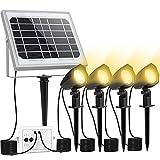 CLY Luces LED Exteriores Solares, 4 en 1 Proyector Led Paisaje IP66 Impermeable, 3 Colores + 2 Brillo Regulables, 5000mAh Foco Solar LED para Jardín, Patio, Césped, Auto ON / OFF, Cable 5 - 13.5M