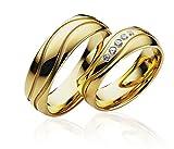 JC Trauringe 925er Sterling Silber Paarpreis I Eheringe Gold-plattiert mit Gravur I Verlobungsringe 6 mm breit inkl. Etui I Herren-Ring ohne & Damen-Ring mit 5 Zirkonia-Steinen I Gr. 48 bis 72 I P104