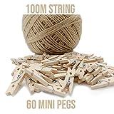 60 Mini mollette in legno + 100 m di corda, mini mollette per decorare pareti fotografiche, decorazioni fai da te, mini mollette in legno, piccole mollette per artigianato, matrimoni ed event